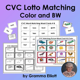 CVC Lotto Matching Picture Word Cards in Color and BW - Lo Prep
