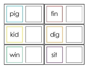 CVC Picture-Word Matching Cards
