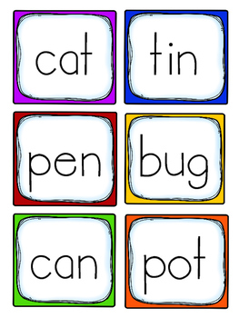 CVC Picture and Word Cards-Freebie!