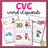 CVC Picture to Word Clipcards (Montessori Pink Series Clipart)