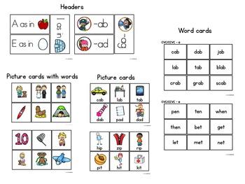 CVC Pocket Chart and Word Sort Center