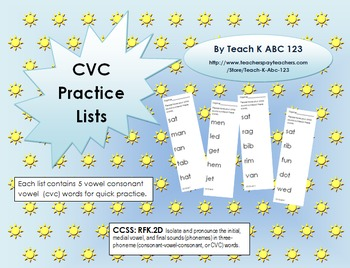 CVC Practice Lists--short vowels A E I O U