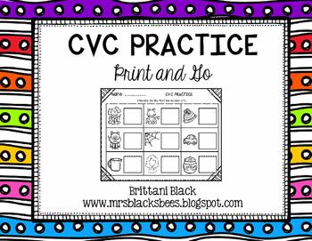 CVC Practice~ Print and Go