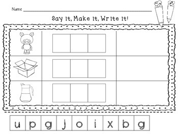 CVC Practice: Say it, Make it, Write it! Freebie
