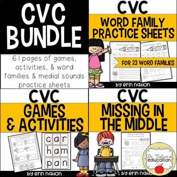 CVC Practice Sheets Bundle {games, activities, and practice pages}