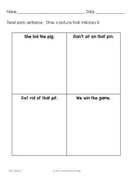 CVC Practice Sheets Short I Words No Prep Printables