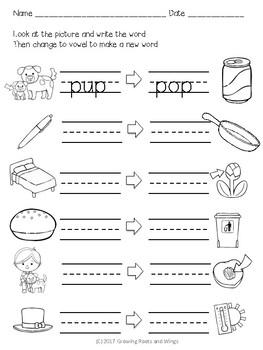 Short Vowel Sounds CVC Practice Sheets No Prep Printables