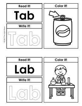 CVC Printable Book -Ab Word Family