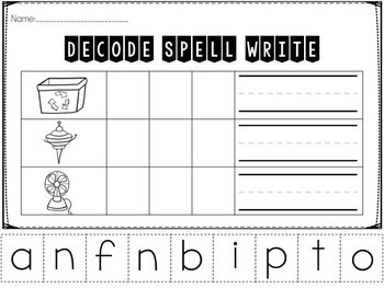 CVC Decode, Spell, Write Printables Bundle