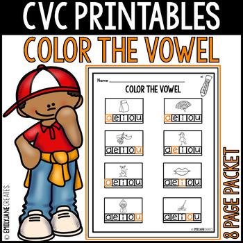 """CVC Printables-COLOR THE VOWEL-(Part of """"CVC Printables Mega Bundle"""")"""