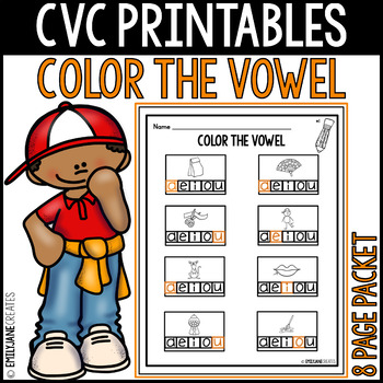 "CVC Printables-COLOR THE VOWEL-(Part of ""CVC Printables Mega Bundle"")"