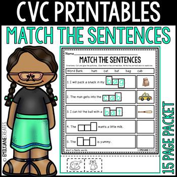 """CVC Printables-MATCH THE SENTENCE-(Part of """"CVC Mega Bundle"""")"""