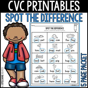 "CVC Printables-SPOT THE DIFFERENCE-(Part of ""CVC Printables Bundle"")"