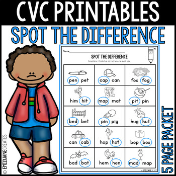 "CVC Printables-SPOT THE DIFFERENCE-(Part of ""CVC Printables Bundle"")"