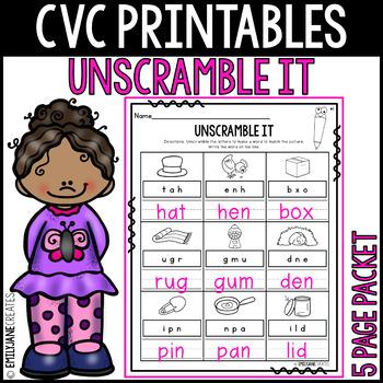"""CVC Printables-UNSCRAMBLE IT-(Part of """"CVC Printables Mega Bundle"""")"""