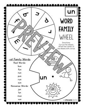 """CVC Printables-WORD FAMILY WHEELS-(Part of """"CVC Printables Mega Bundle"""")"""