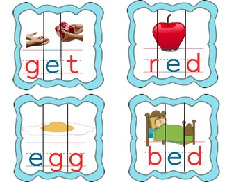 CVC Puzzle Matching Cards for a, e, i, o and u