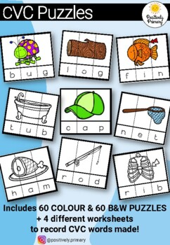 CVC Puzzles - Color and Printer Friendly - 60 of each + 4 worksheets!