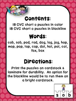 CVC Puzzles Short o