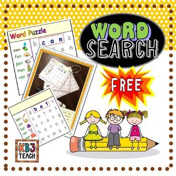 "FREE CVC Word Search (Short ""A"")  RF.K.2d"
