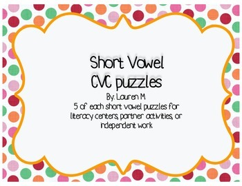 CVC Puzzles for Literacy Centers