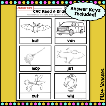 CVC Read And Draw, CVC Word Work Printable Worksheets/ Flash Cards