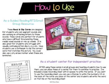 CVC Read & Clip Phonics Cards w/ REAL Photos {Guided Reading Word Work}