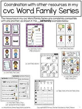 CVC Read, Match, and Write Word Family Words