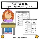 CVC: Read, Write, and Circle worksheets