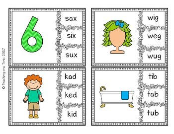 CVC Read and Clip 'I' 'O' 'U' sounds