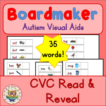 CVC Read and Reveal - Boardmaker Visual Aids for Autism SPED