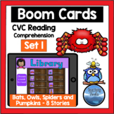 CVC Reading Comprehension Passages BOOM CARDS Set 1 Bats Spiders Owls Pumpkins