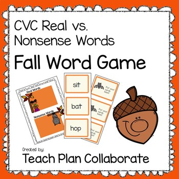 CVC Real and Nonsense Word Game- Fall Themed