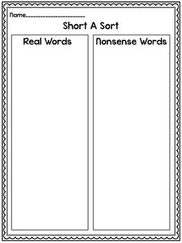 CVC Real or Nonsense Word Sorts