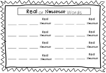 CVC Real or Nonsense Word Spin Game