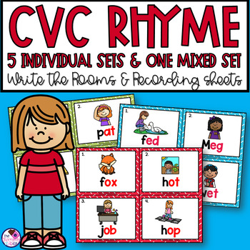 CVC Rhyme Write the Room Six Sets