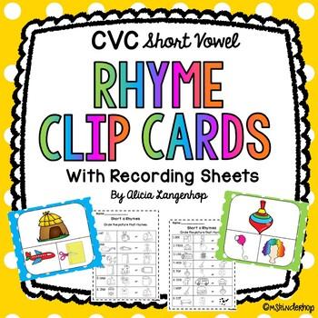 CVC Rhyming Clip Cards