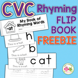 Rhyming Activity Book | CVC Rhyming Flip Book -at Word Family Freebie