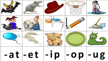CVC Rhyming Picture Match Task Cards