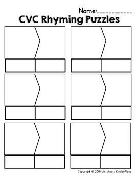 CVC Rhyming Puzzles *41 Pairs*