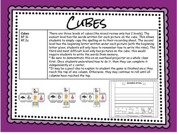 CVC Rhyming Roll and Write Cube: -at