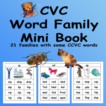 CVC Rhyming Word Families Color and BW Mini Book and Flash Cards