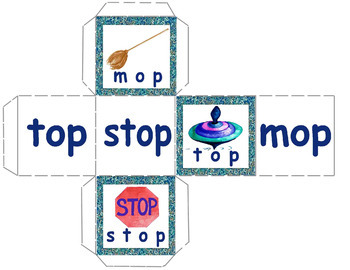 CVC Rhyming Word Family Cubes - Make Your Own Games - Color and BW