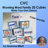 CVC Rhyming Vocabulary Word Family Cubes - Make Your Own Games - Color and BW