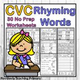 CVC Rhyming Words No Prep Worksheets