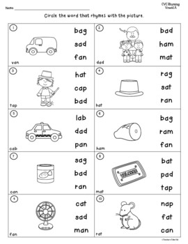 Consonant, Vowel, Consonant Words | Worksheet | Education.com