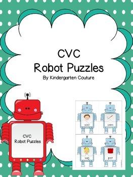CVC Robot Puzzles - Short Vowel Puzzles