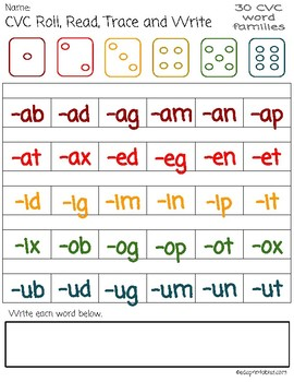 CVC Roll, Read, Trace and Write Game - includes 30 word families