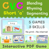 CVC SHORT A   Blending - Rhyming - Segmenting   Interactiv
