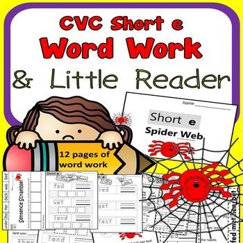 CVC SHORT E Spelling Word Work Printables for Kindergarten 1st